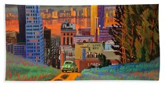 Bath Towel featuring the painting I Love New York City Jazz by Art James West
