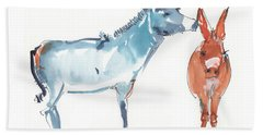I Love You Donkey Art Watercolor Painting By Kmcelwaine Bath Towel