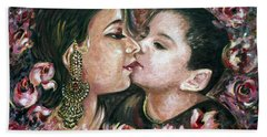 Hand Towel featuring the painting I Love You Mom by Harsh Malik