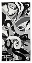 Black And White Acrylic Painting Original Abstract Artwork Eye Art  Hand Towel