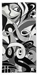 Black And White Acrylic Painting Original Abstract Artwork Eye Art  Bath Towel