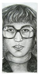 Hand Towel featuring the drawing Robin Gibb by Patrice Torrillo
