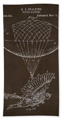 Hand Towel featuring the drawing Icarus Airborn Patent Artwork Espresso by Nikki Marie Smith
