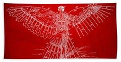Icarus Human Flight Patent Artwork Red Bath Towel