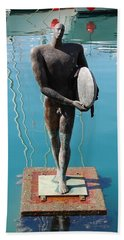 Icarus With His Surfboard Hand Towel by Linda Prewer