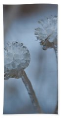 Ice-covered Winter Flowers With Blue Background Hand Towel