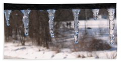 Bath Towel featuring the photograph Icicles On The Bridge by Nina Silver