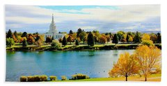 Bath Towel featuring the photograph Idaho Falls Temple by Benjamin Yeager