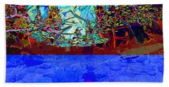 Illusion Of Lake And Forest Hand Towel