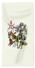 Illustration Of A Group Of Children's Toys Bath Towel