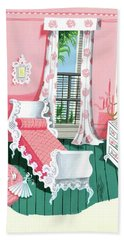 Illustration Of A Victorian Style Pink And Green Bath Towel