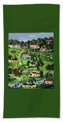 Illustration Of A Village Bath Towel
