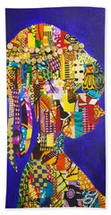 Hand Towel featuring the tapestry - textile Imani by Apanaki Temitayo M