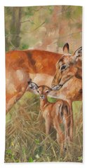 Impala Antelop Hand Towel by David Stribbling