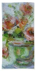 Bath Towel featuring the painting Impressionist Roses 2 by Mary Wolf