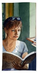 In The Book Store Hand Towel by Irina Sztukowski