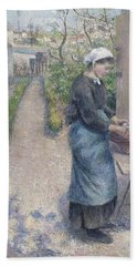 In The Garden At Pontoise A Young Woman Bath Towel