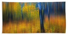 Bath Towel featuring the photograph In The Golden Woods. Impressionism by Jenny Rainbow