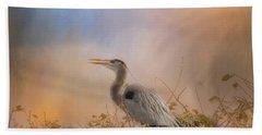 In The Nest - Great Blue Heron Bath Towel