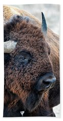 Bison The Mighty Beast Bison Das Machtige Tier North American Wildlife By Olena Art Hand Towel