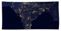 India At Night Satellite Image Bath Towel