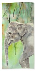 Indian Elephant Hand Towel by Elizabeth Lock