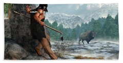 Indian Hunting With Atlatl Hand Towel