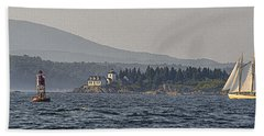Bath Towel featuring the photograph Indian Island Lighthouse - Rockport - Maine by Marty Saccone