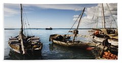 Indian Ocean Dhow At Stone Town Port Bath Towel by Amyn Nasser