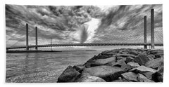 Indian River Bridge Clouds Black And White Bath Towel