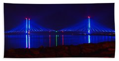 Indian River Inlet Bridge After Dark Bath Towel