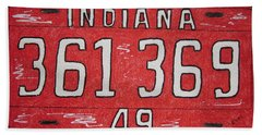 Hand Towel featuring the painting Indiana 1949 License Platee by Kathy Marrs Chandler