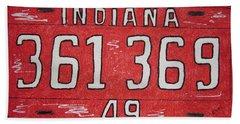 Indiana 1949 License Platee Bath Towel