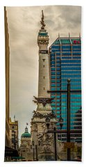 Indiana - Monument Circle With State Capital Building Hand Towel