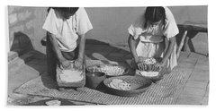Indians Making Tortillas Hand Towel
