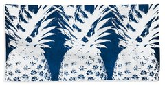 Indigo And White Pineapples Hand Towel by Linda Woods
