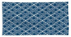 Indigo And White Small Diamonds- Pattern Hand Towel by Linda Woods