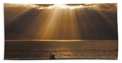 Inspirational Sun Rays Over Calm Ocean Clouds Bible Verse Photograph Bath Towel by Jerry Cowart