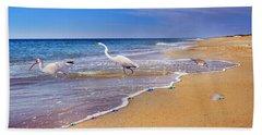 Inspiring Ibis Egret Sandpiper Starfish Sand Dollars  Hand Towel