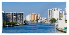 Intracoastal Waterway In Hollywood Florida Hand Towel