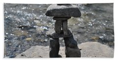 Inukshuk By The Water Bath Towel by Jim Hogg