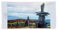 Inukshuk Hand Towel by Marilyn  McNish