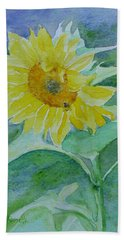 Inviting Sunflower Small Sunflower Art Hand Towel by Elizabeth Sawyer