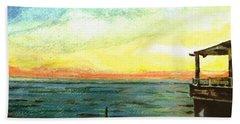 Bath Towel featuring the painting Ionian Sea Zanti Greek Island by Teresa White