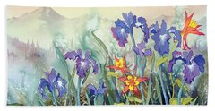 Bath Towel featuring the painting Iris And Columbine II by Teresa Ascone