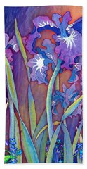 Bath Towel featuring the mixed media Iris Bouquet by Teresa Ascone