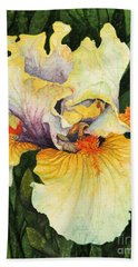 Hand Towel featuring the painting Iris Elegance by Barbara Jewell