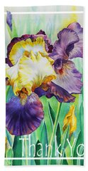 Iris Flower Thank You Bath Towel