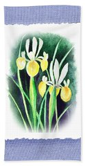 Iris Flowers Botanical Impressionism Bath Towel