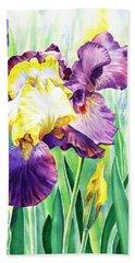 Bath Towel featuring the painting Iris Flowers Garden by Irina Sztukowski